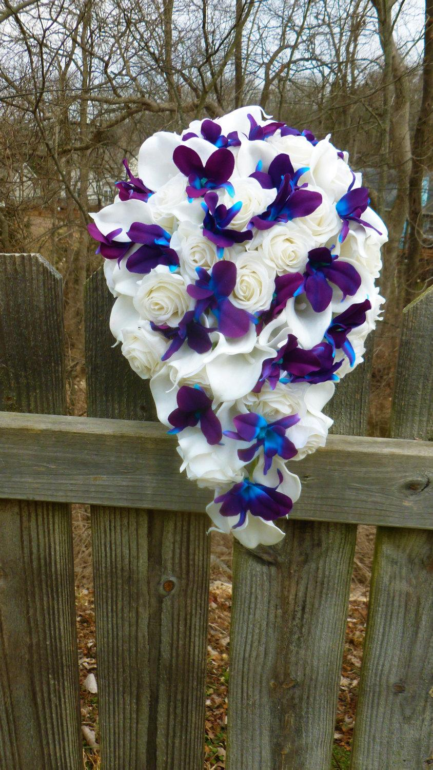 Mariage - Cascading Ivory/white real touch rose, calla lily and purple blue dendrobium orchid bouquet, galaxy orchid bouquet