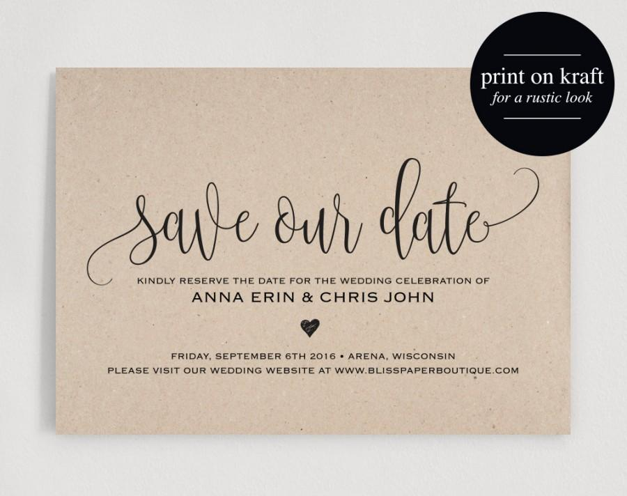 Mariage - Save the Date Template, Save the Date Card, Save the Date Printable, Wedding Printable, Rustic Wedding, PDF Instant Download