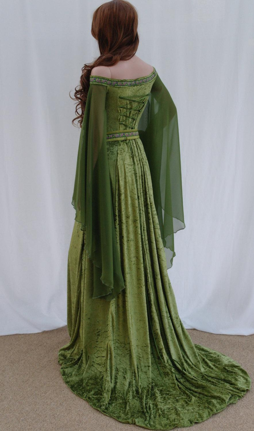 Elven Dress, Celtic Wedding Dress, Medieval Dress, Renaissance Dress ...
