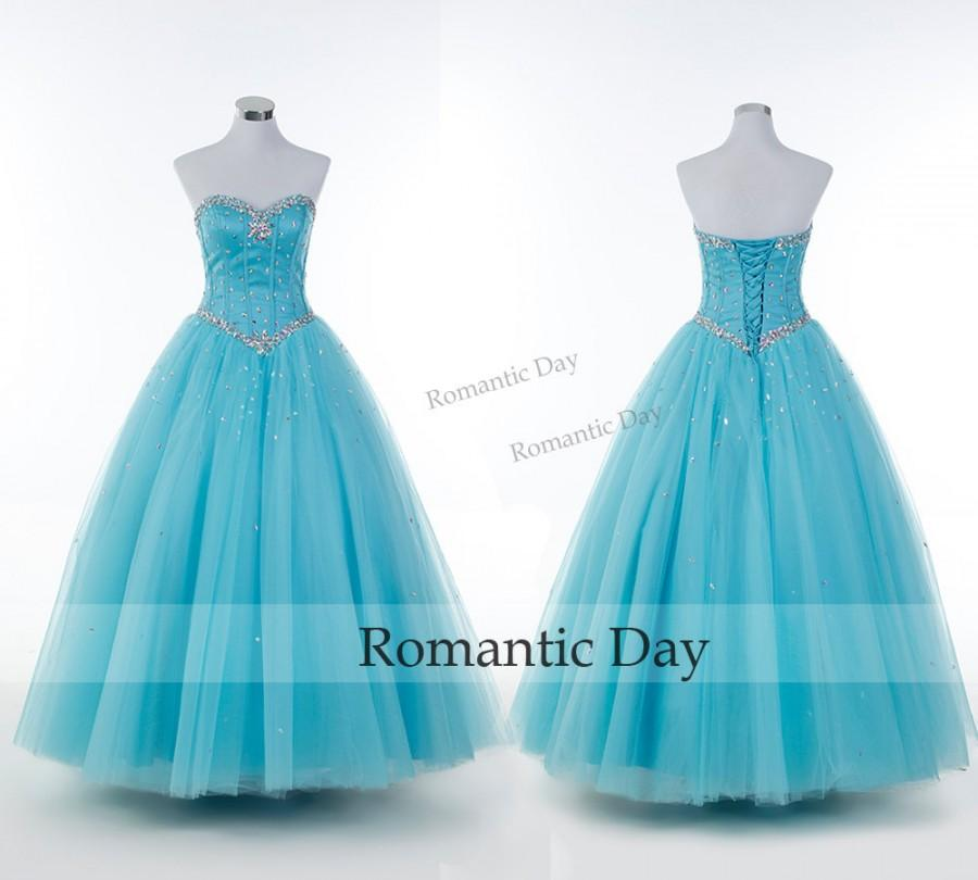 2015 New Charming Blue/Aqua Beaded Prom Gowns Vintage ...