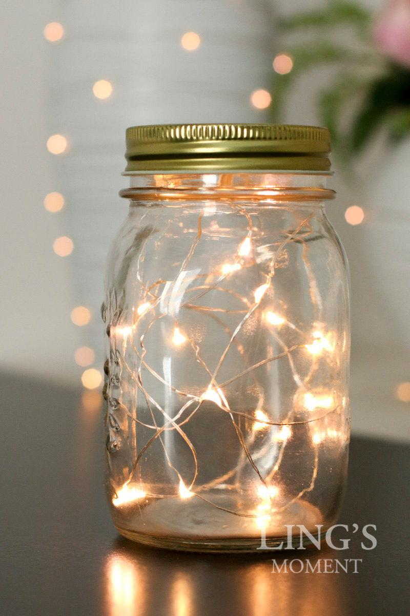 Wedding - 20LED 6.5 Feet Fairy String Lights Battery Included Free Shipping-Starry Lights Warm White for Mason Jar-Wedding Christmas Decor LEDFLS-020