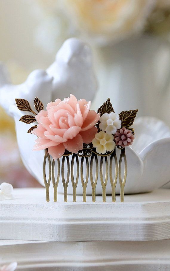 Mariage - Bridal Hair Comb Wedding Hair Accessory Blush Pink Flower Hair Comb Powder Pink Rose Ivory Mauve Daisy Antique Gold Brass Leaf Hair Comb