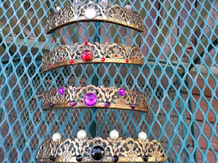 Mariage - Filigree Tiaras in Multiple Colors made from Vintage Brass with a Rose Design
