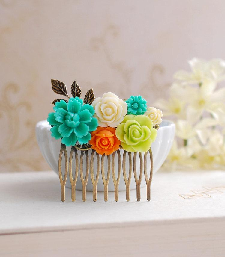 Mariage - Teal Blue Orange Chartreuse Green Ivory Flowers Hair Comb, Orange Teal Chartreuse Wedding Bridal Hair Accessory, Bridesmaid Hair Comb