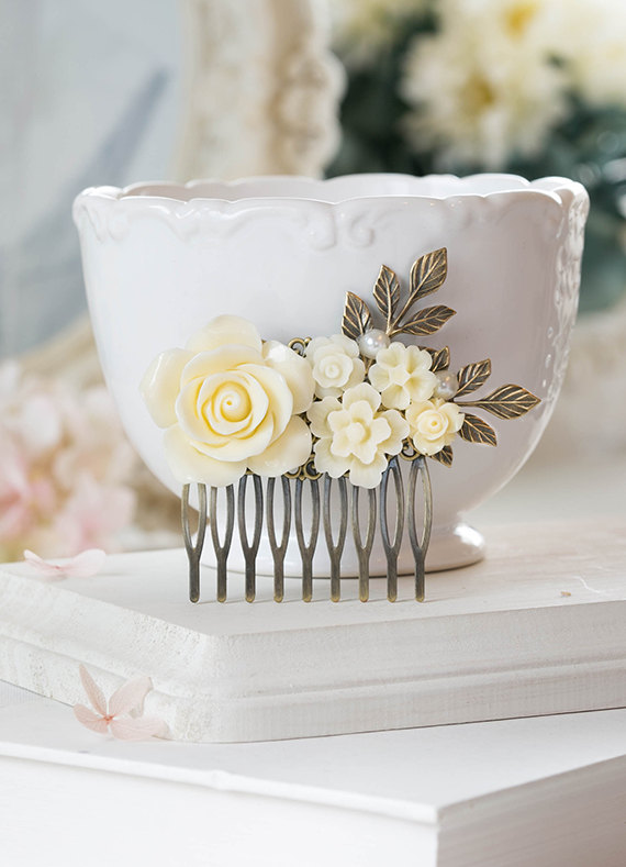 Mariage - Bridal Hair Comb Shades of Ivory Rose Floral Hair Comb Leaf Hair Comb Vintage Style Wedding Collage Hair Comb Country Chic Woodland Wedding