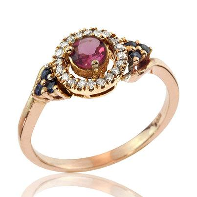 زفاف - Rose Gold Engagement Ring, 1950's Vintage Inspired 14k Gold Sparkling Gemstone Engagement Ring, Rose Gold Ring