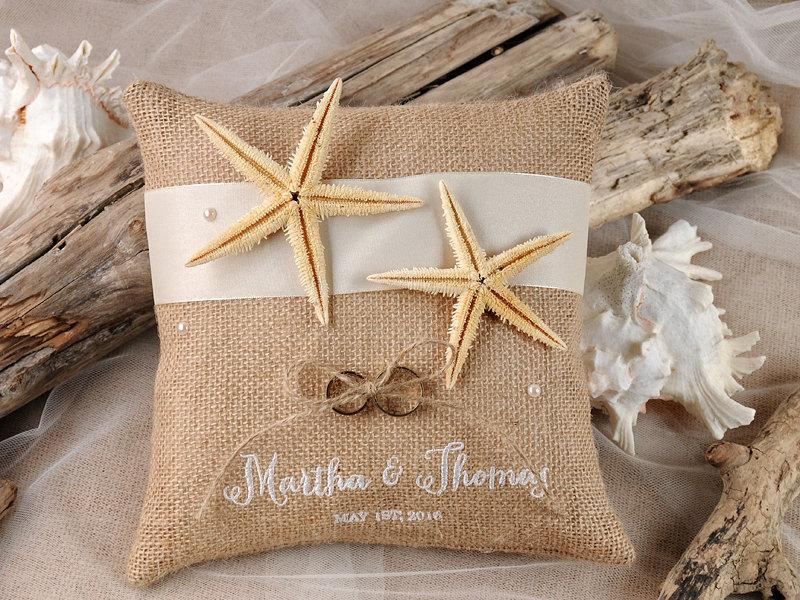 زفاف - Custom Ring Bearer Pillow, Rustic Ring Bearer Pillow, Burlap Wedding Pillow, Beach Rustic Pillow, Starfish Ring  Pillow,