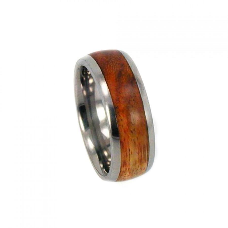 زفاف - Titanium Ring inlaid with Canary Wood Waterproofing Included Personalized Gift Idea for Him and for Her