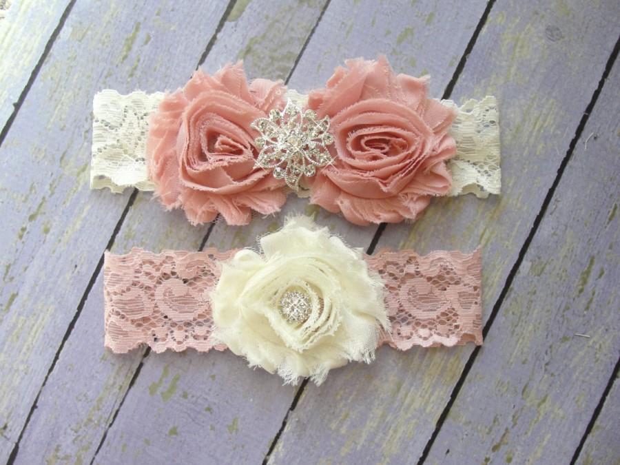 Wedding - Dusty Rose Garter, Garter Set, Pink Garter, Garter Belt, Wedding Garter, Pale Pink Garter, Rhinestone Garter, Ivory Garter