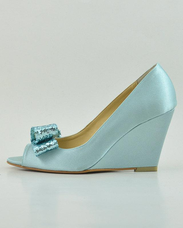 Wedding - Something Blue Wedding Shoes, Blue Glitter Wedding Wedges, Light Blue Wedding Shoes, Robin Egg Blue Wedding Shoes, Something Blue Wedge Pump
