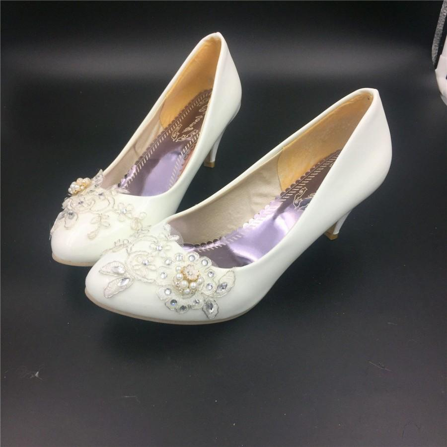Ivory White Bridal Low Heels Wedding Shoes,Flower Lace