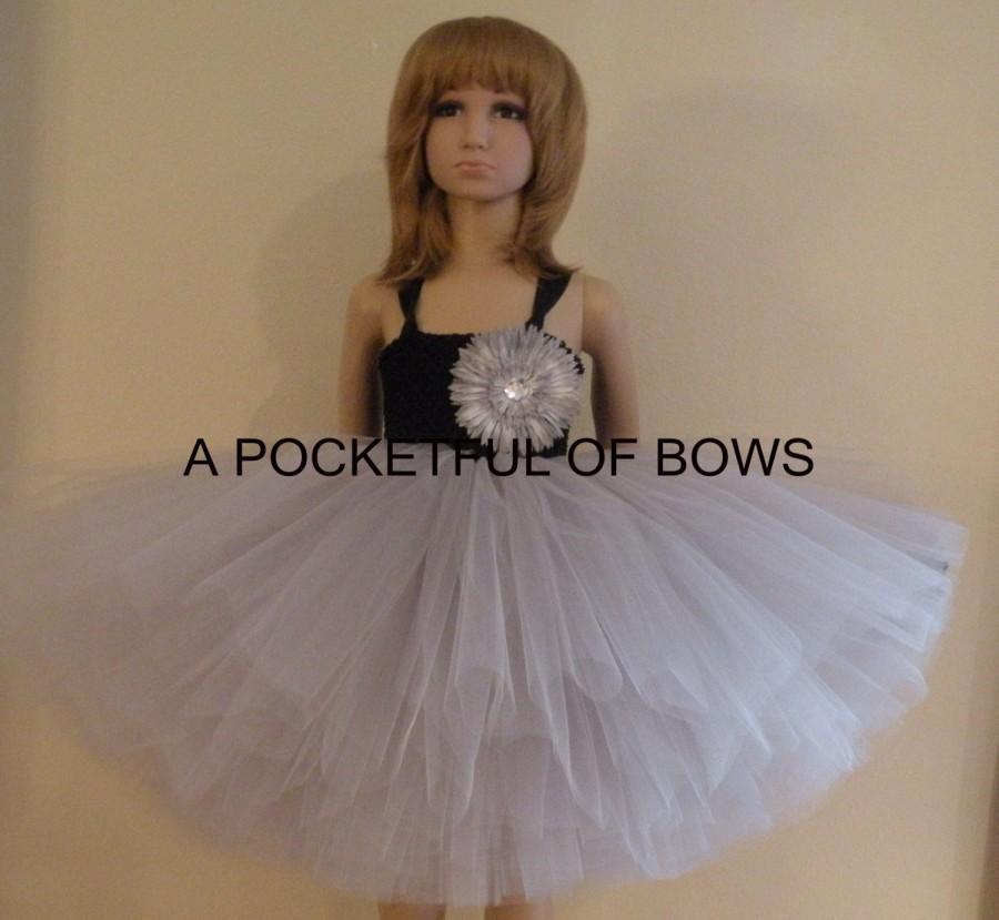 Nozze - Flower Girl Dress Silver,  Long Tulle Tutu Dress