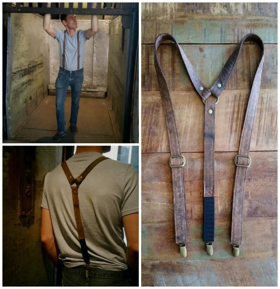 Leather Gifts For Men For Wedding Anniversary: Brown Mocha Leather Suspender. 3rd Anniversary Gift For