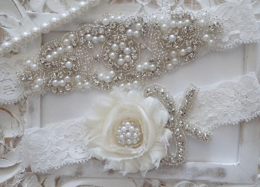 Свадьба - Wedding Garter Set, Bridal Garter Set, Vintage Wedding, Lace Garter, Pearl Garter, Style 200
