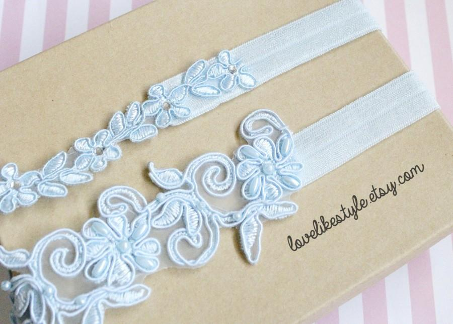 Свадьба - Light Blue Beaded Lace Wedding Garter Set, Light blue Lace Garter Set, Toss Garter , Keepsake Garter / GT-21A