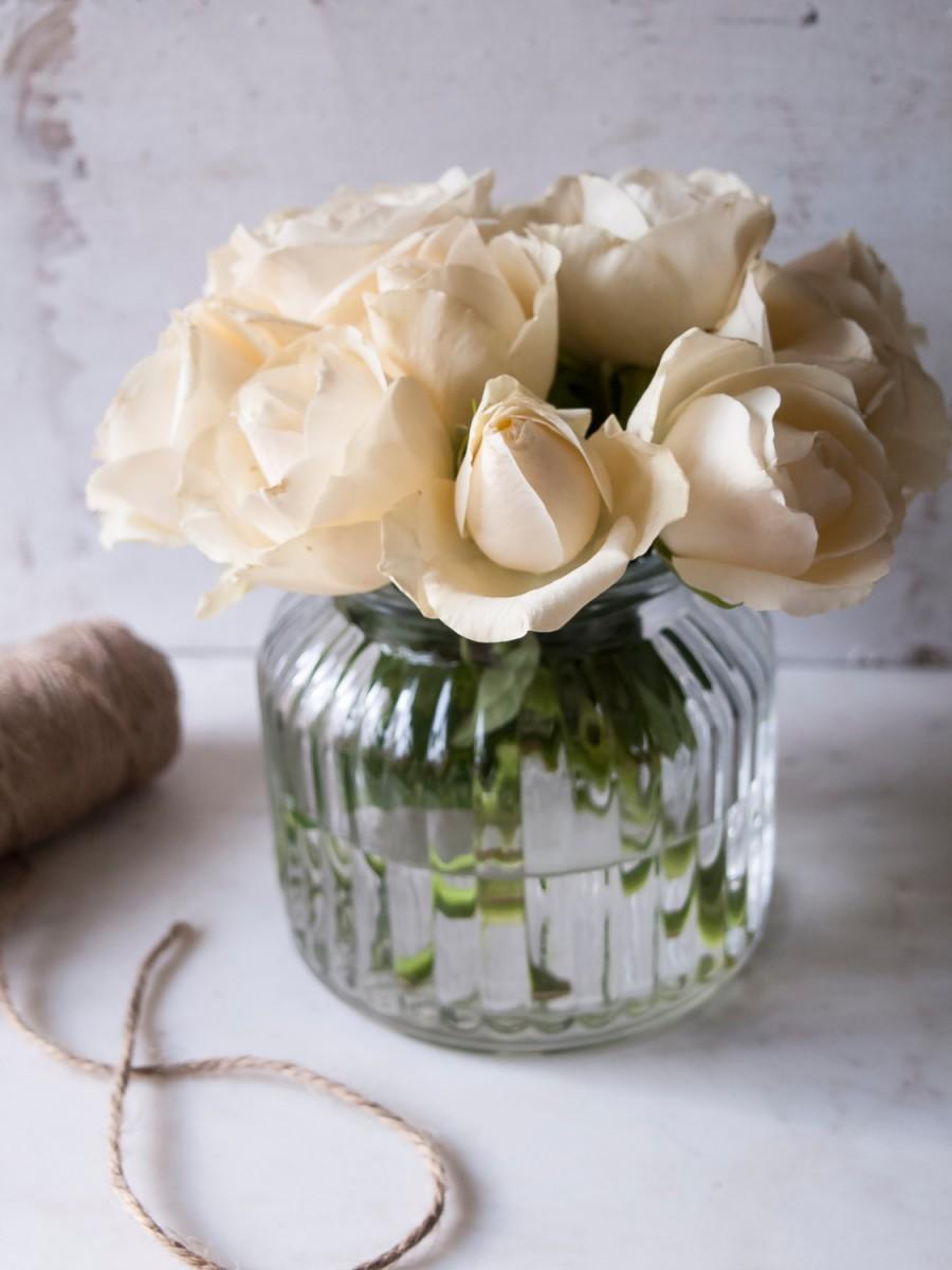 Wedding - Ribbed Glass Vase Set of 2