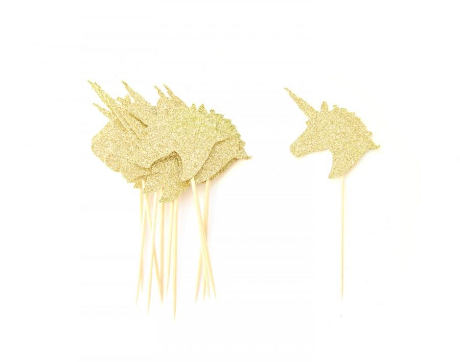 12 Gold Glitter Unicorn Head Cupcake Toppers Unicorn Cupcake