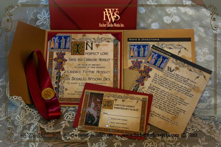 medieval wedding invitations in illuminated manucript style fully customizable to suit your needs in color elements and design - Medieval Wedding Invitations