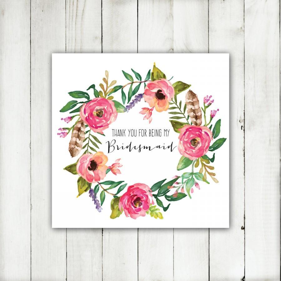 زفاف - Printable - 'Thank you for being my Bridesmaid' Boho Floral Wreath Card