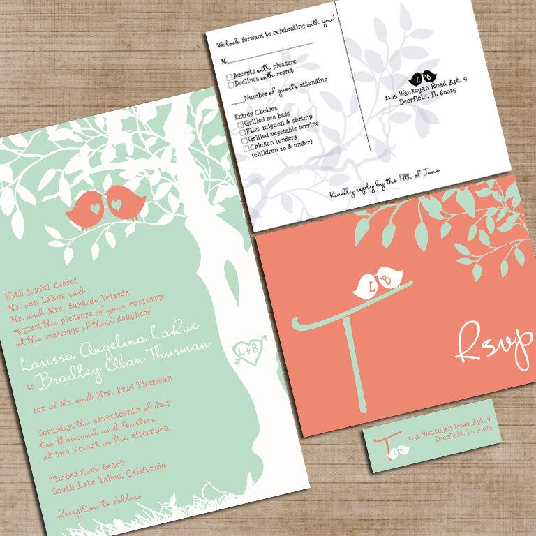 Mariage - Mint Green and Coral Wedding Invitations, Custom Love Birdies Wedding Invites, Sample