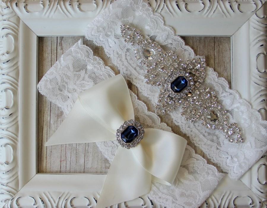 Wedding - GARTER - Wedding Garter w/ toss -Turquoise Blue Garter, Something Blue, Crystal Garters, Bridal Garter, Rhinestone Garter