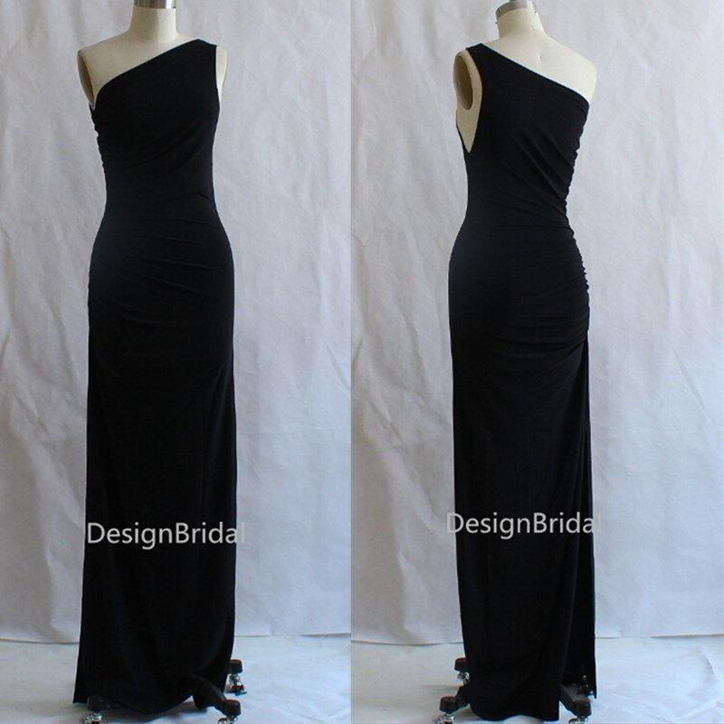 4a194dddc409eb Modest One-shoulder Black Evening Dress,Side Slits Evening Gown,Long Evening  Dress,Elegant Long Prom Dress,Stretch Cotton Dress 15% OFF
