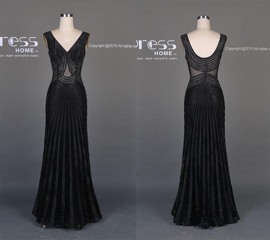 Wedding - 2016 Sexy Black Beading Prom Dress/See Through Long Prom Dress/Slim Prom Dress/Black Prom Dress Mermaid/Prom Dress Long/Evening Dress DH514