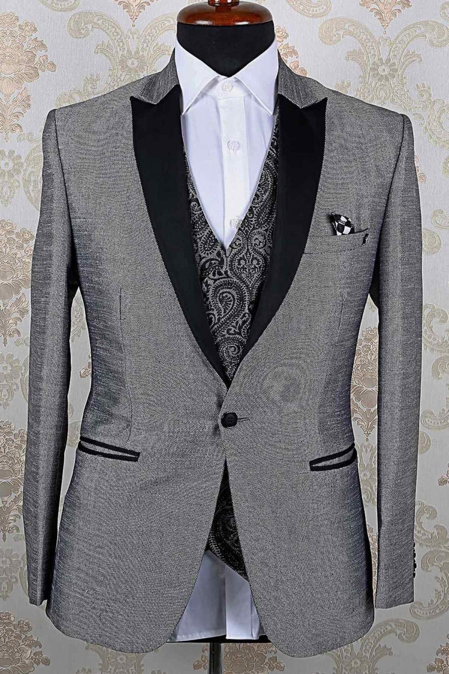 زفاف - Grey & black italian divine slim fit suit with peak lapel