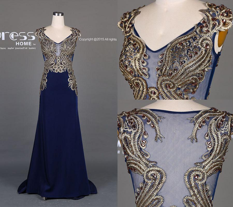 Unique 2016 Navy Blue Mermaid Gold Embroidery Prom Dressbeading