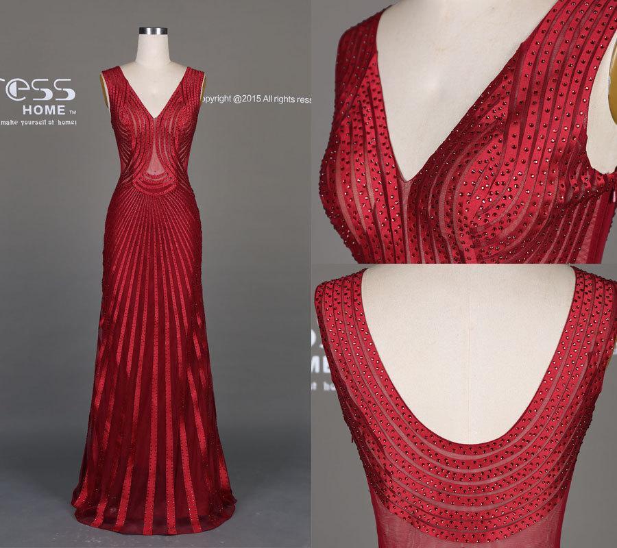 زفاف - Sexy See Through Burgundy Red Beading Prom Dress/Deep V Neck Long Prom Dress/Slim Party Dress/Mermaid Prom Dress Long/Evening Dress DH514