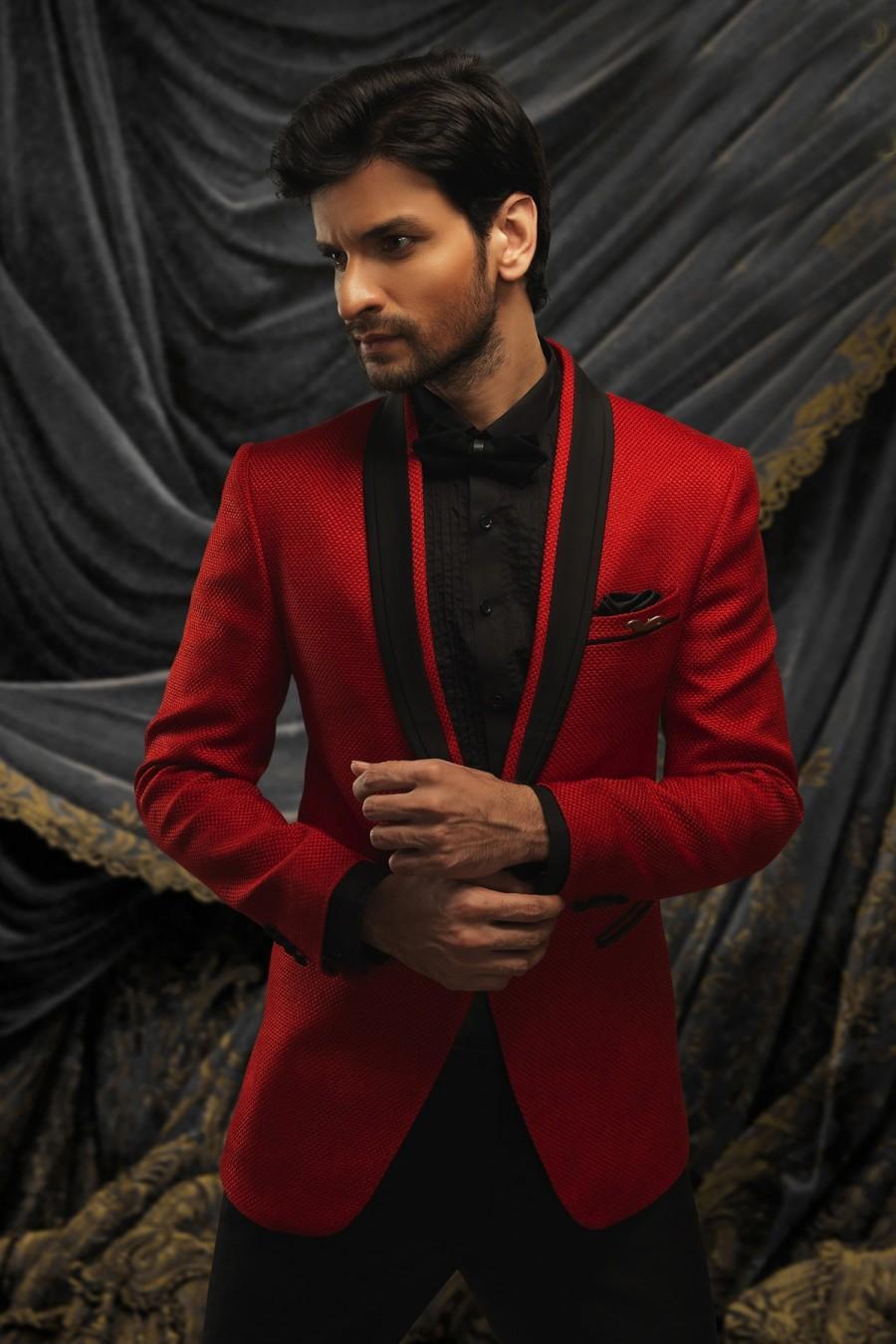 Wedding - Maroon jute debonair prince suit with shawl lapel