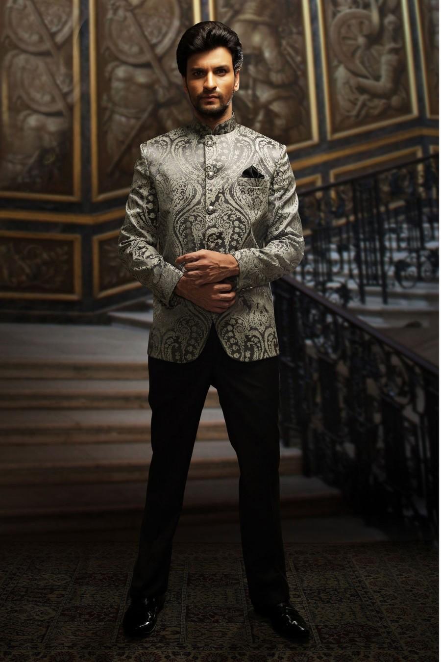 Wedding - Silver & black embossed velvet well-formed suit