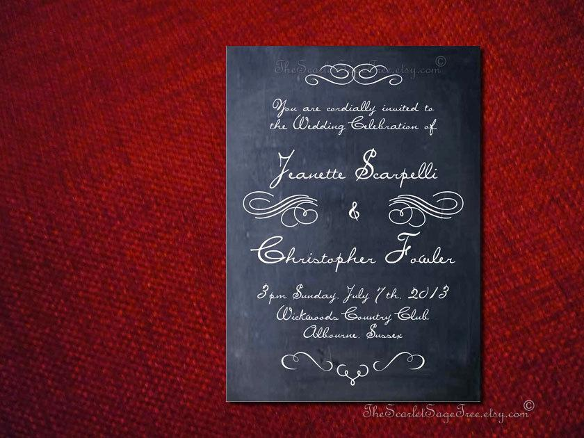 diy printable chalkboard chic invitation design pdf rustic country