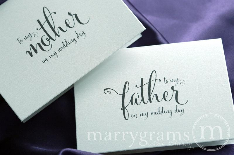 Mariage - Wedding Card to Your Mother and Father - Parents of the Bride or Groom Cards - On My Wedding Day - Stepmother or Stepfather (Set of 2) CS07