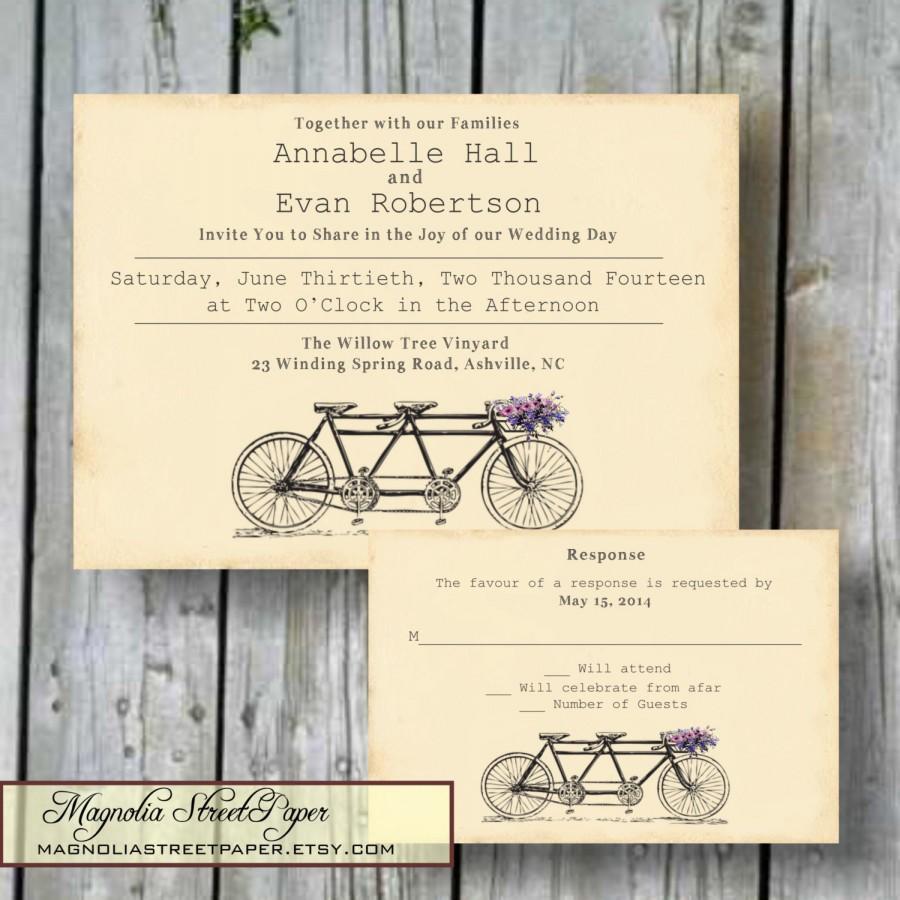 Tandem Bicycle Wedding Invitation, Custom Printable