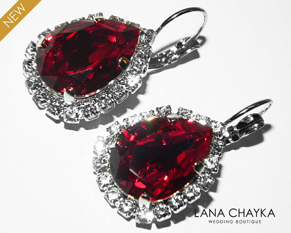 Red Crystal Halo Earrings Swarovski Siam Rhinestone Large Dark Sparkly Leverback Vintage Style Wedding Jewelry