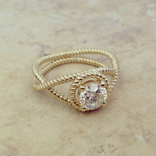 زفاف - Round Shape Infinity Diamond Engagement Ring 14k White Gold or Yellow Gold Art Deco Diamond Ring