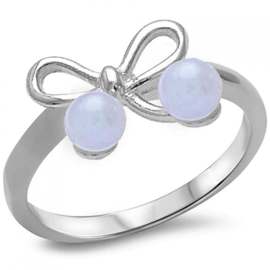 Hochzeit - Petite Dainty Ribbon Bow Ring Solid 925 Sterling Silver Cute Ribbon Bow Round Fresh Water Pearl Ring