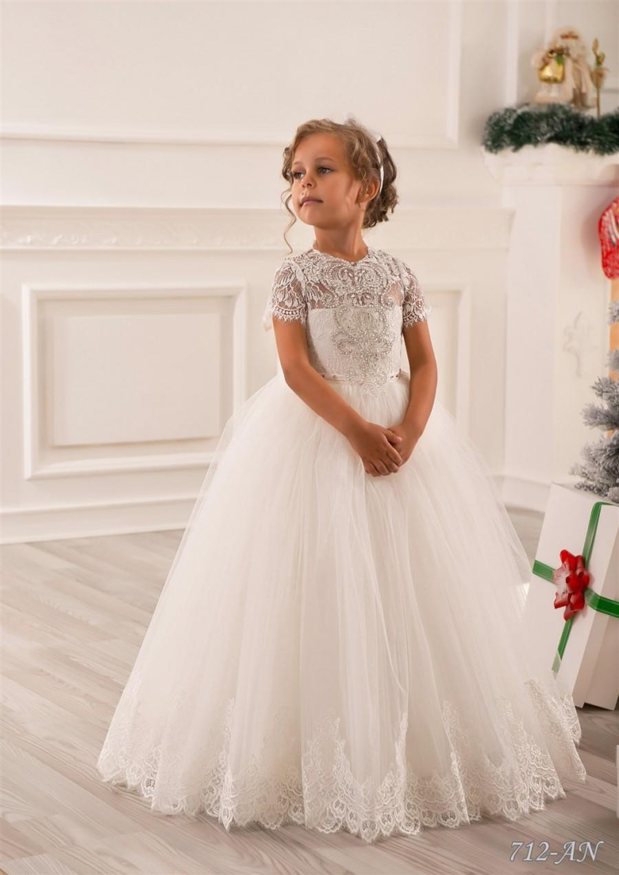 زفاف - Ivory Lace Flower Girl Dress - Wedding Party Holiday Bridesmaid Birthday Tulle Lace Ivory Flower Girl Dress