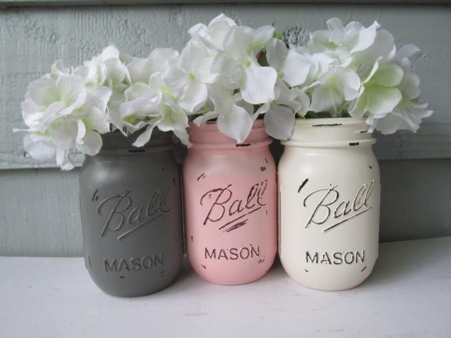 Painted And Distressed Ball Mason Jars Lightpalepastel Pink Gray