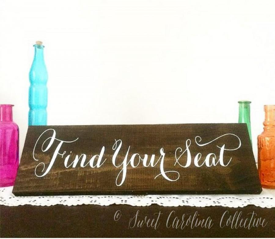 Mariage - Rustic Wedding Sign, Wedding Seating Sign - Find Your Seat WS-35