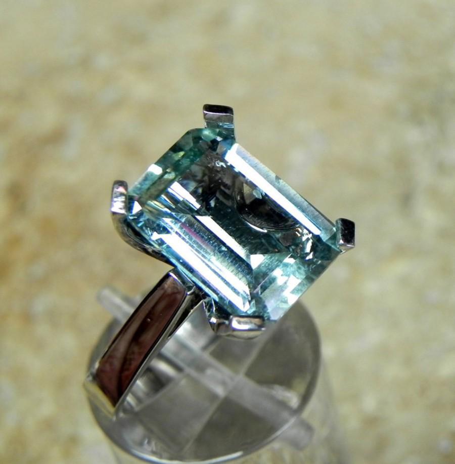 زفاف - AAA 6 Ct  Green Aquamarine Emerald Cut 14x10mm Natural Untreated Gemstone set in 14K white gold ring 1259