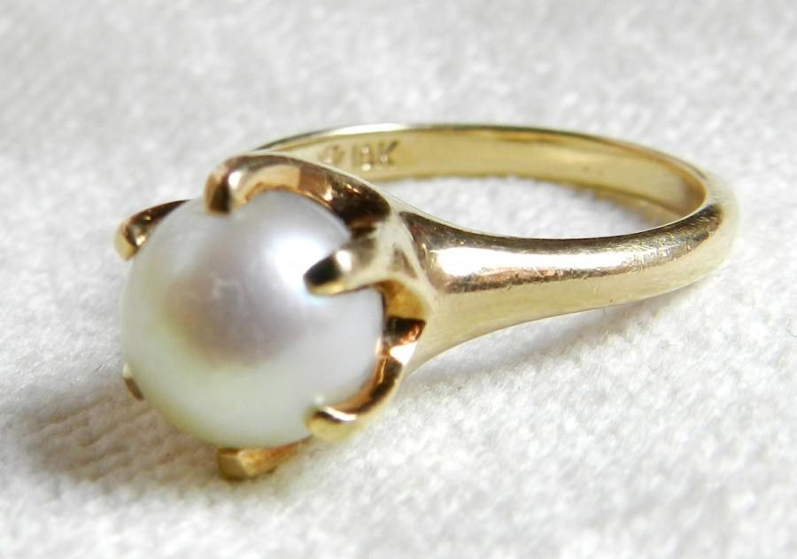 Pearl Engagement Ring 8 Mm Cultured Pearl Antique Engagement Ring Claw Set P