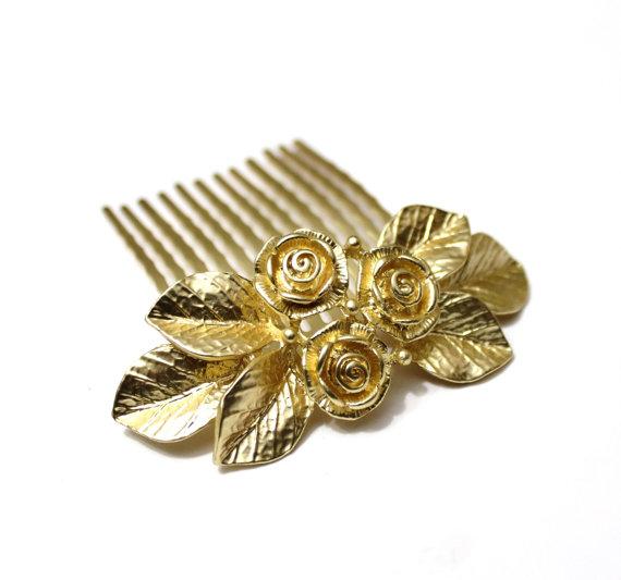 زفاف - Bridal Hair Comb, Gold Rose Flowers, Wedding Hair Accessory, Gold Leaf Hair Comb, Vintage Wedding Garden, Wedding Flower Comb