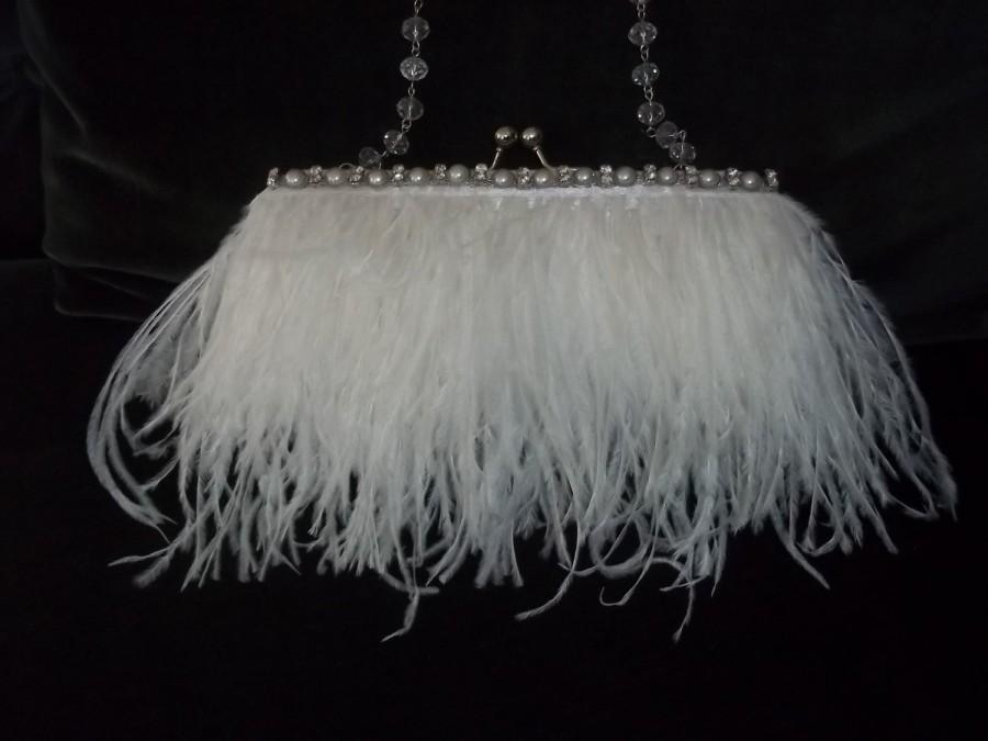 Mariage - Bridal Purse - White Flapper, Art Deco, Ostrich Feathers, 1920s Style, Pearl and Rhinestone Trim - A Bijoux Bridal Chicago Signature Design