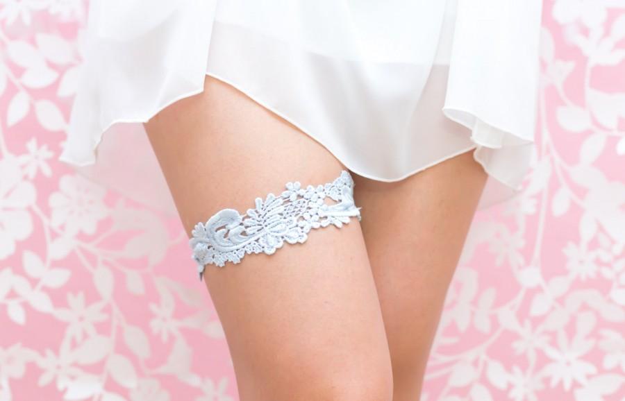 Свадьба - Blue Venise Lace Wedding Garter- Hand dyed