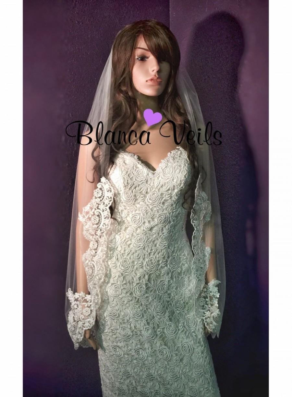 Hochzeit - Single Tier Lace Wedding Veil