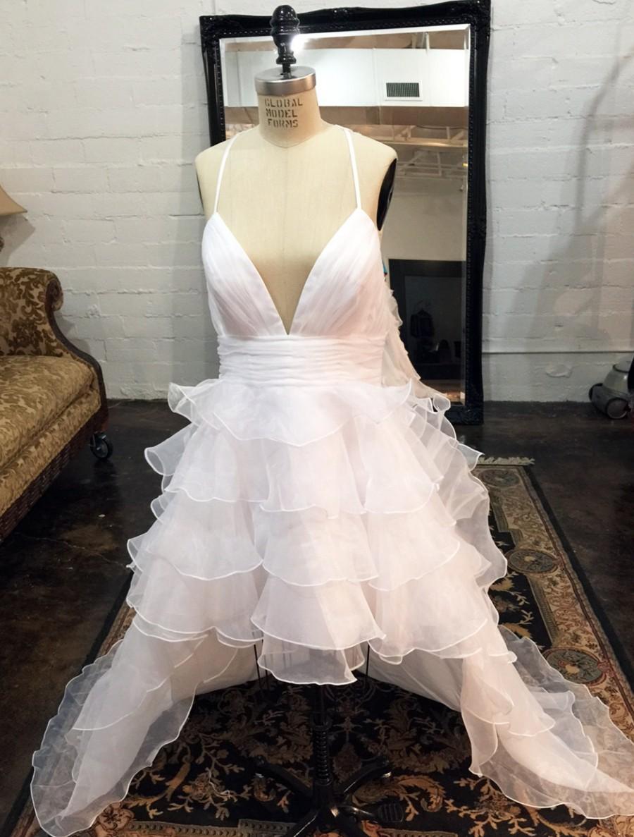 زفاف - High Low Ruffle Organza Wedding Dress with Detachable Train, Lace Wedding Dresses, High Low Wedding Dress, Ruffles, Reception Dress