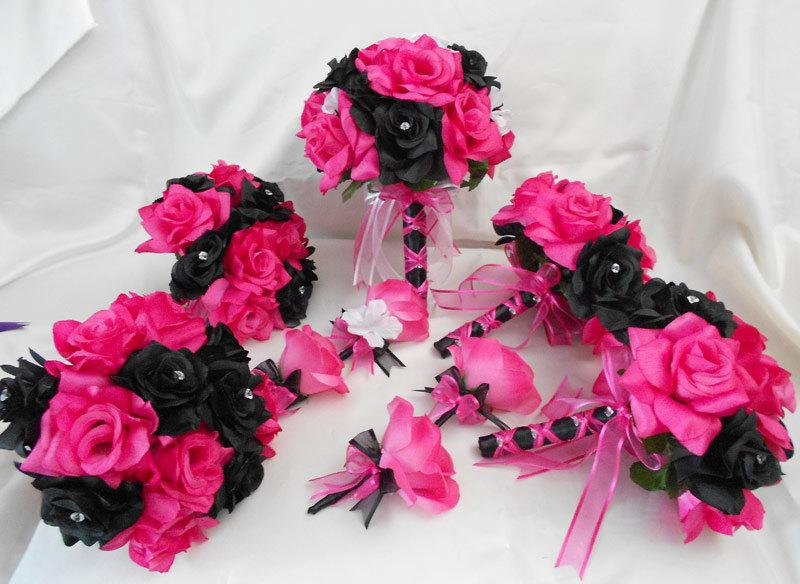 Mariage - Wedding Bridal Bouquets Your Colors 18 pcs Package Fuchsia Hot Pink Black Roses Toss Bridesmaids  Boutonnieres Corsages FREE SHIPPING