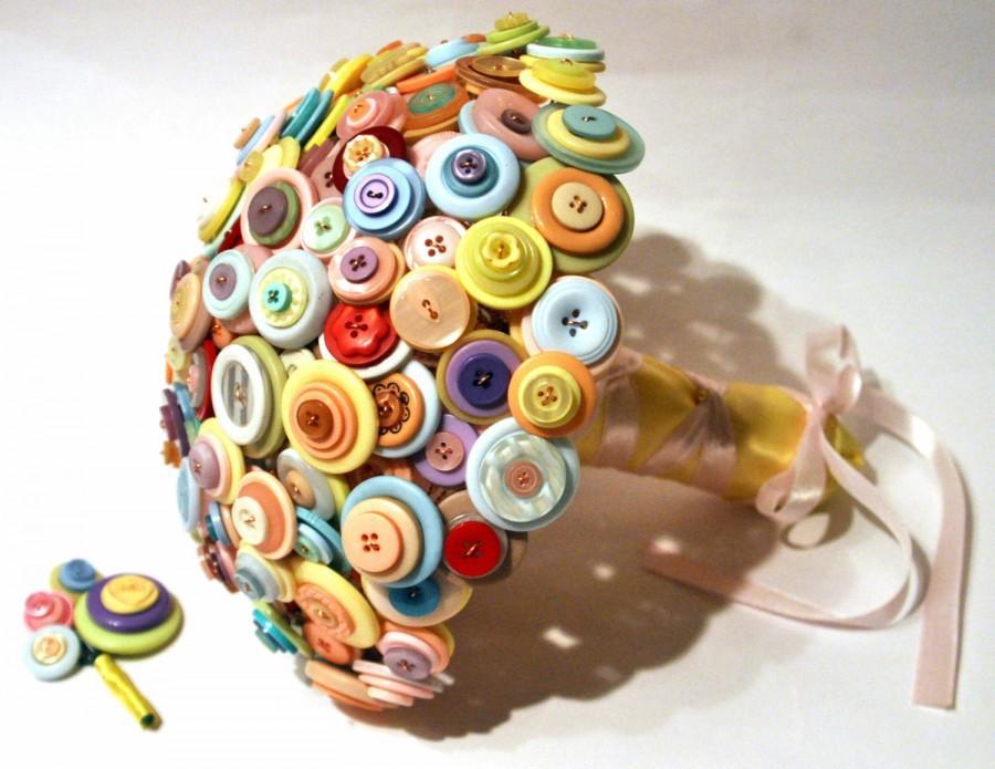 Mariage - Pastel Button Bouquet / Candy coloured Bouquet / Alternative Wedding Flowers / Everlasting Bouquet